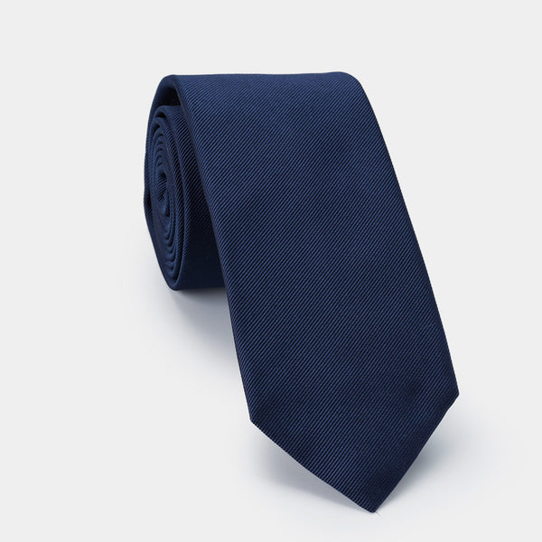 Silk Lucky Tie in Navy Blue with Coral Charm-ANTORINI®