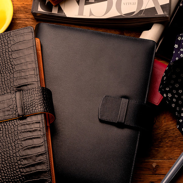 Multifunctional Leather A5 Journal/Diary and Note Pad in Black & Cognac