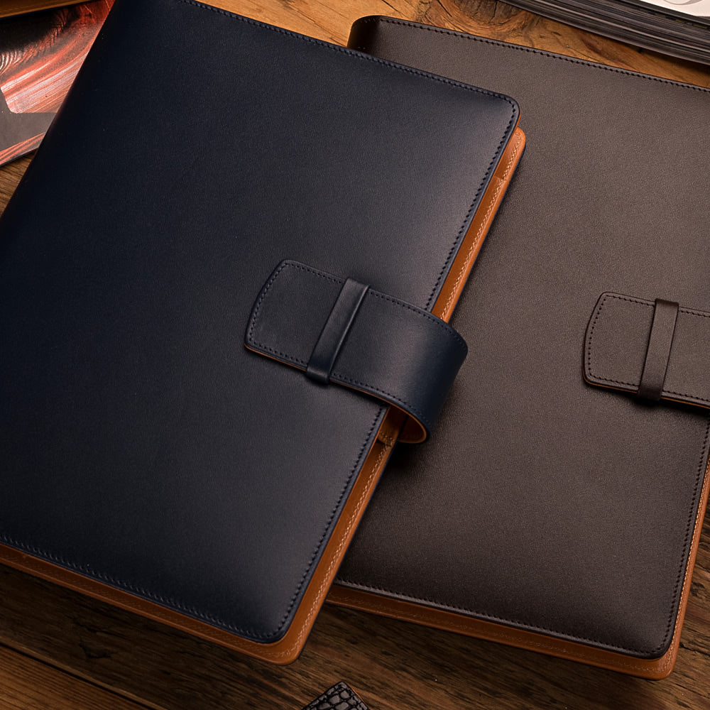 Multifunctional Leather A5 Journal/Diary and Note Pad in Navy Blue & Cognac