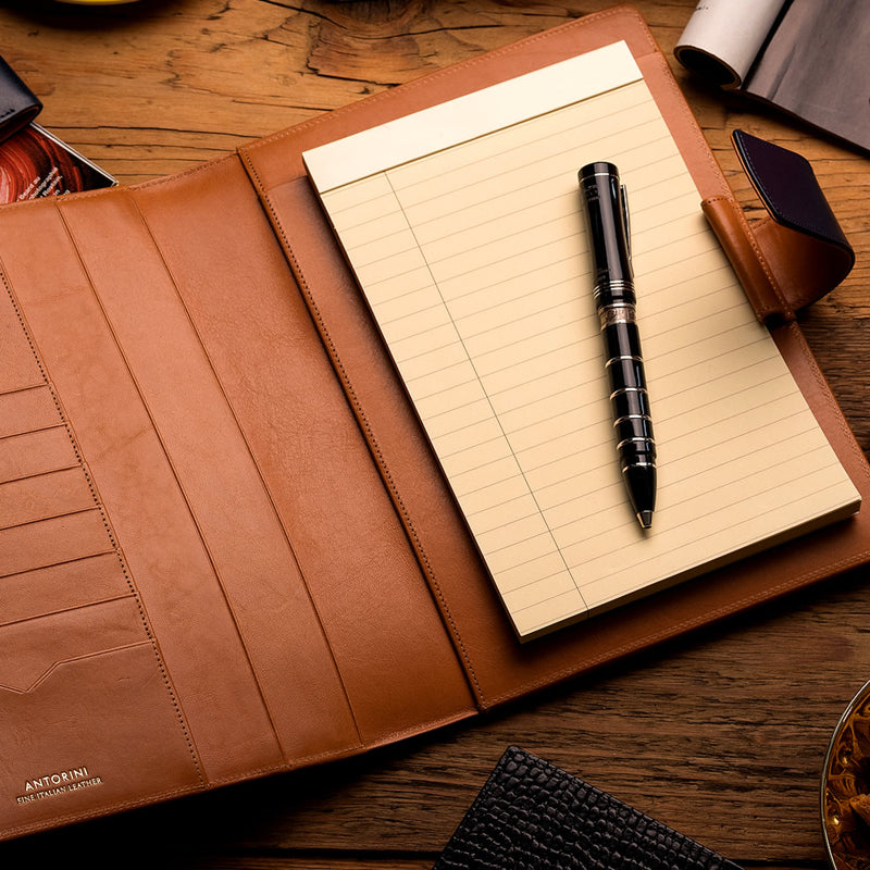 Leather A5 Padfolio in Black and Cognac with Note Pad