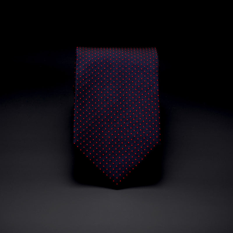 Silk Pocket Tie in Navy with Red Dots