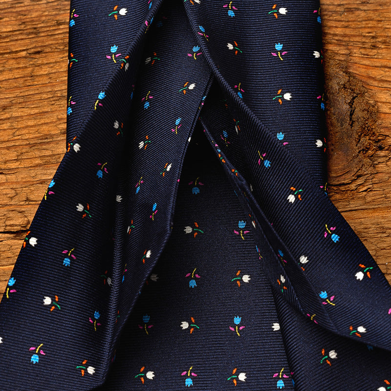 Silk Floral Tie in Navy Blue with Tulips