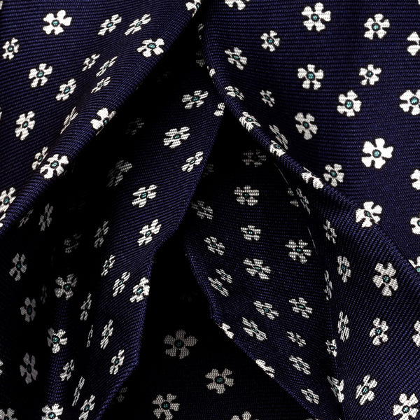 Silk Tie in Navy with White Flowers