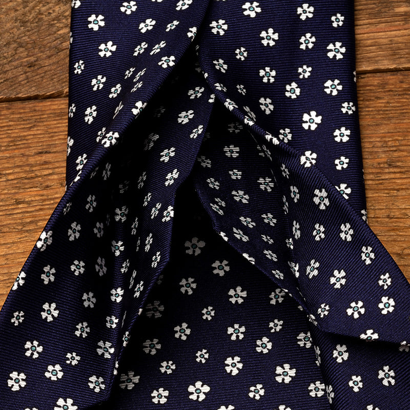 Silk Tie in Navy with White Flowers-ANTORINI®