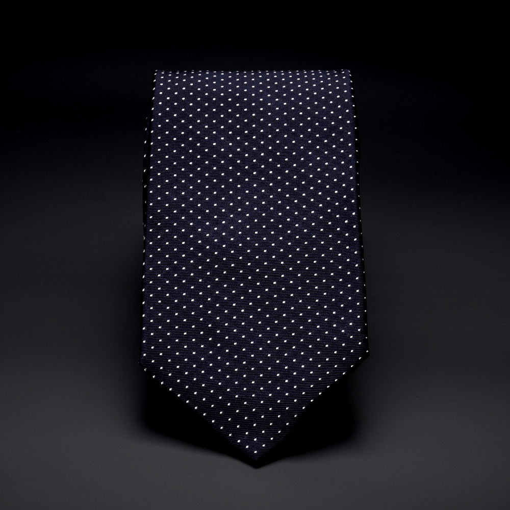 Silk Pocket Tie in Navy with White Dots