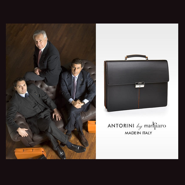 Leather Briefcase in Black and Orange-ANTORINI®