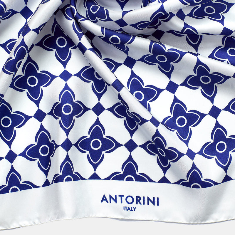 Geometric Luxury Silk Scarf XV-ANTORINI®