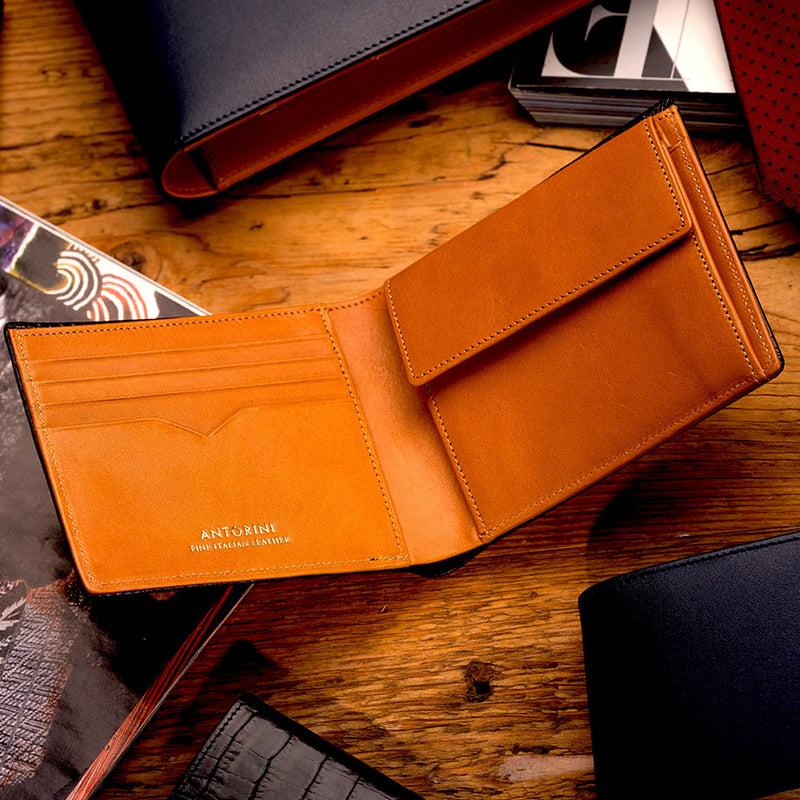 Men's Wallet ANTORINI in Black and Cognac-ANTORINI®