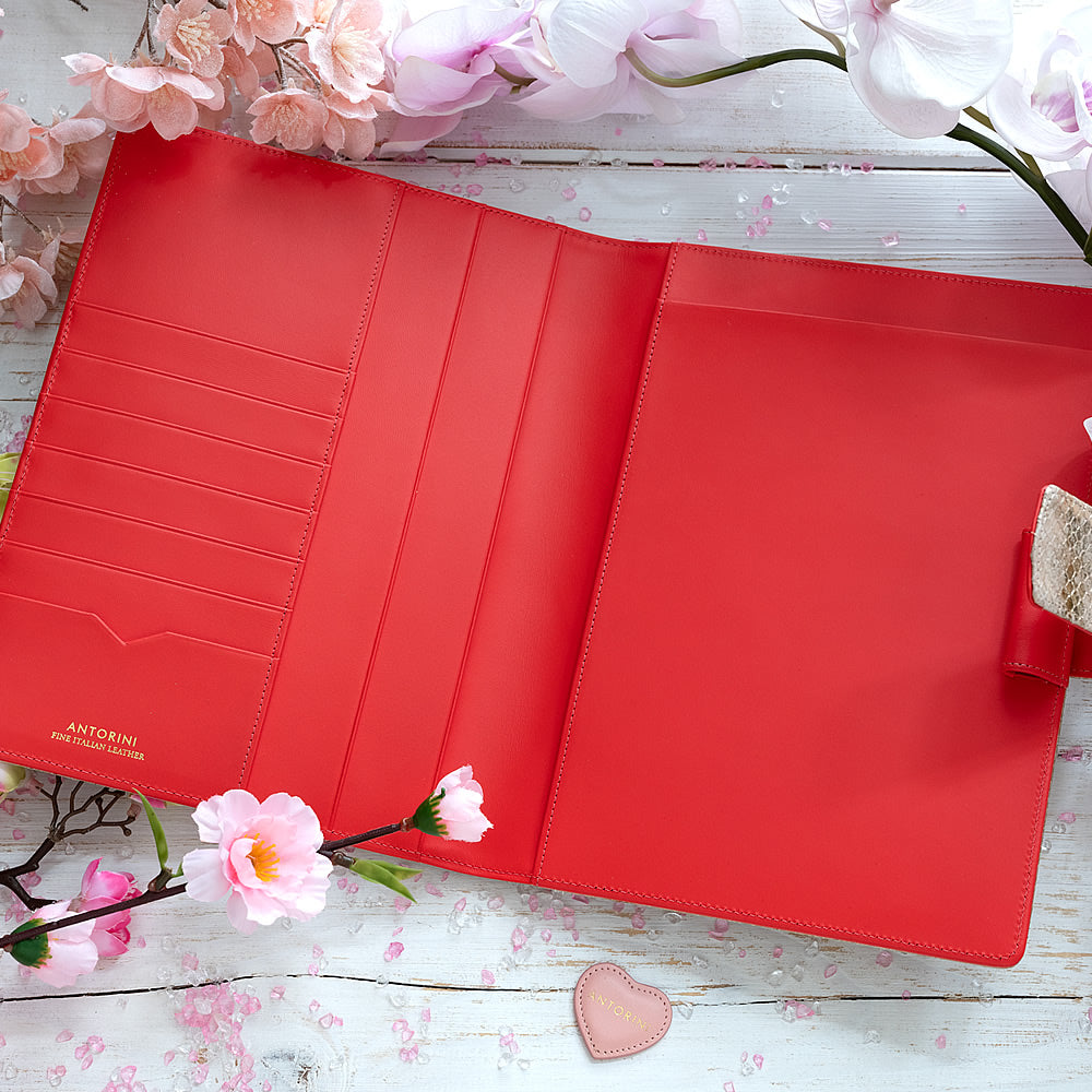 Leather A5 Padfolio in Gold and Red with Notepad