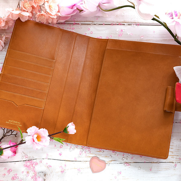 Leather A5 Padfolio in Red and Cognac with Notepad-ANTORINI®