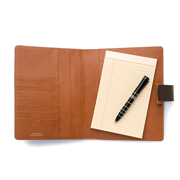 Leather A5 Padfolio in Dark Brown and Cognac with Note Pad