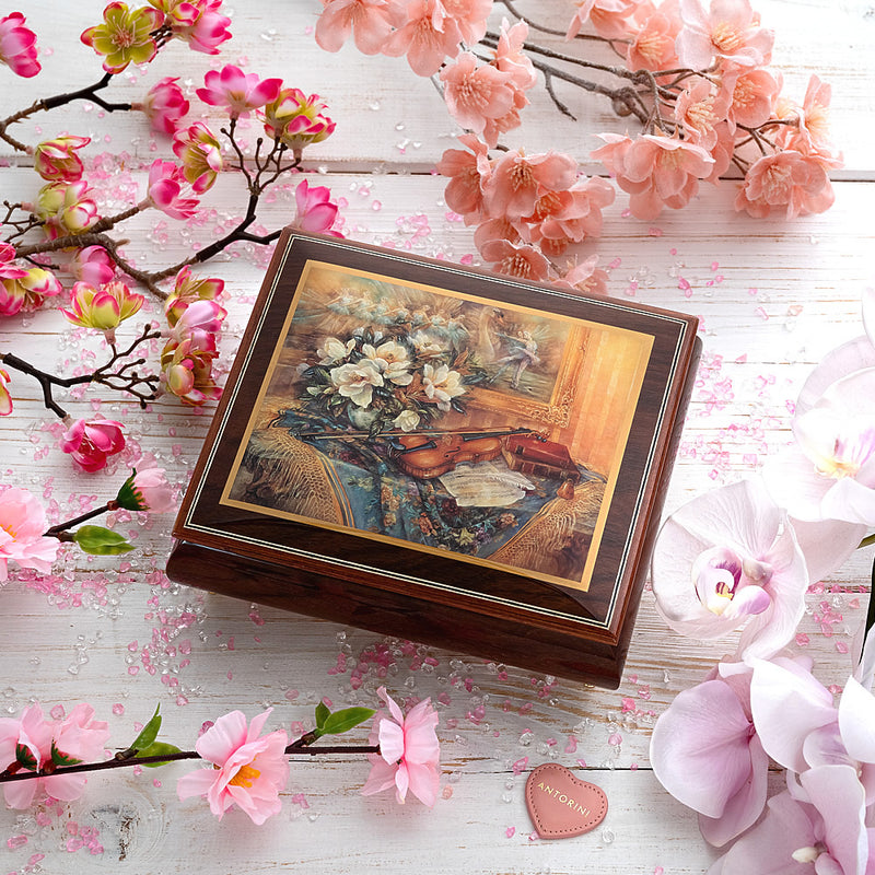 "Music Jewellery Box with Motive of ""Violin and Flowers"""