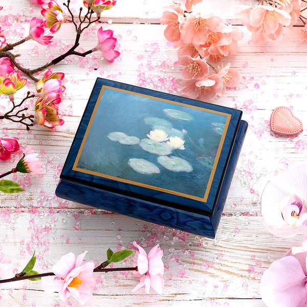 "Music Jewellery Box with Motive of ""Water Lilies"""