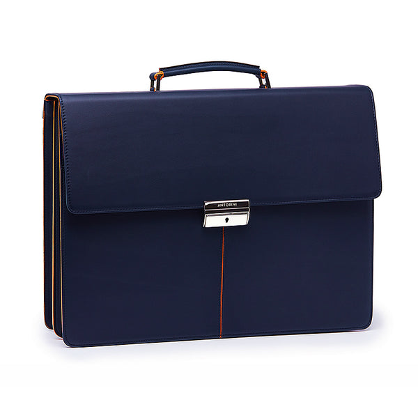 Leather Briefcase in Navy&Orange-ANTORINI®