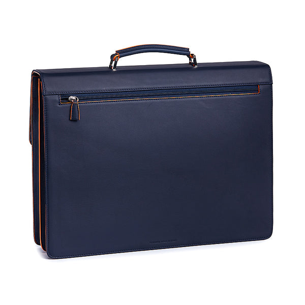 Leather Briefcase in Navy&Orange