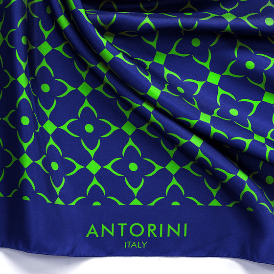 ANTORINI Geometric Silk Scarf - Blue & Neon Green