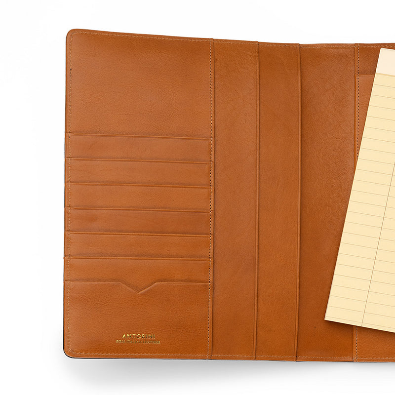 Leather A5 Padfolio in Navy and Cognac with Note Pad-ANTORINI®
