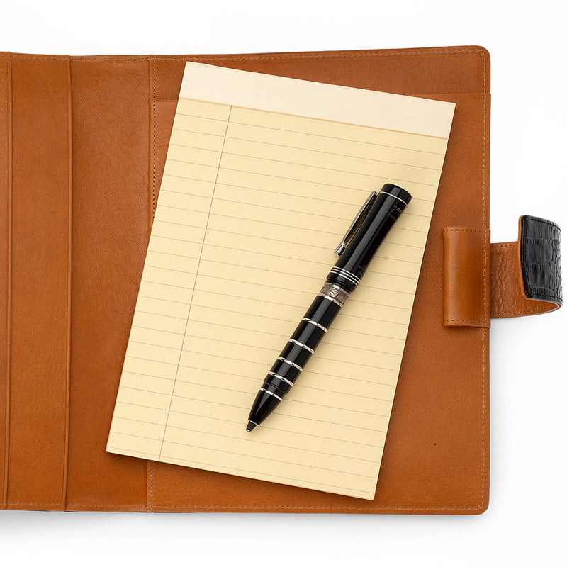 Leather A5 Padfolio in Black Croc and Cognac with Note Pad-ANTORINI®