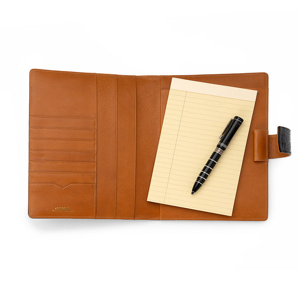Leather A5 Padfolio in Black Croc and Cognac with Note Pad