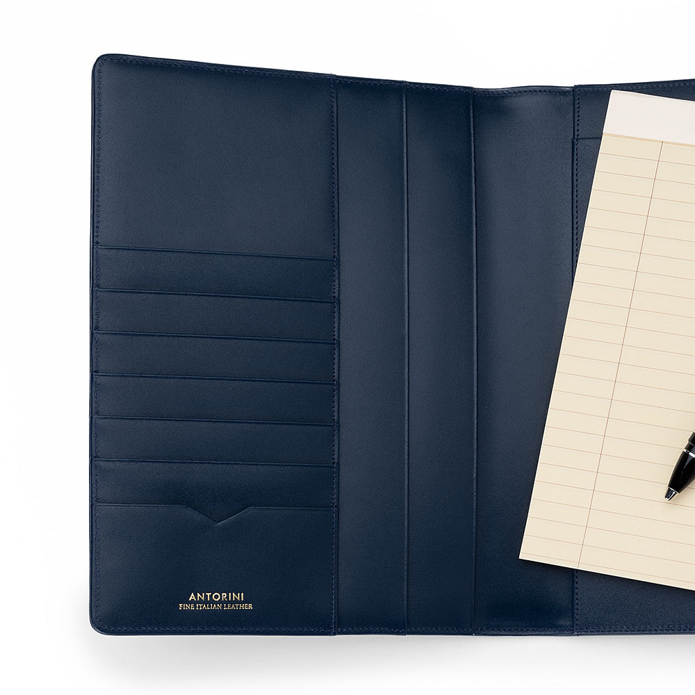 Leather A5 Padfolio in Navy with Note Pad