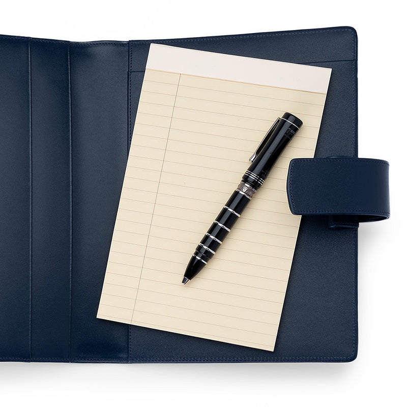 Leather A5 Padfolio in Navy with Note Pad-ANTORINI®