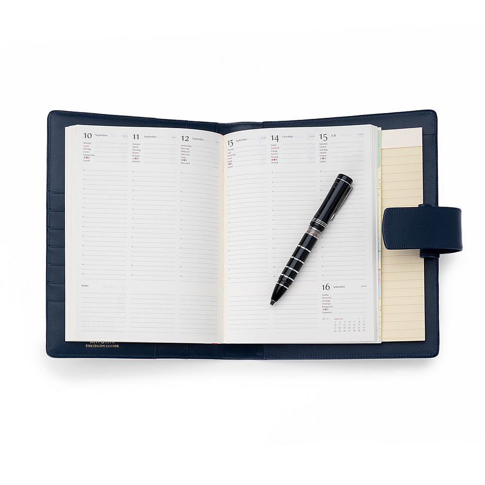 Multifunctional Leather A5 Journal in Smooth Blue