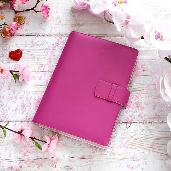 Multifunctional Leather A5 Journal/Diary and Note Pad in Pink & White