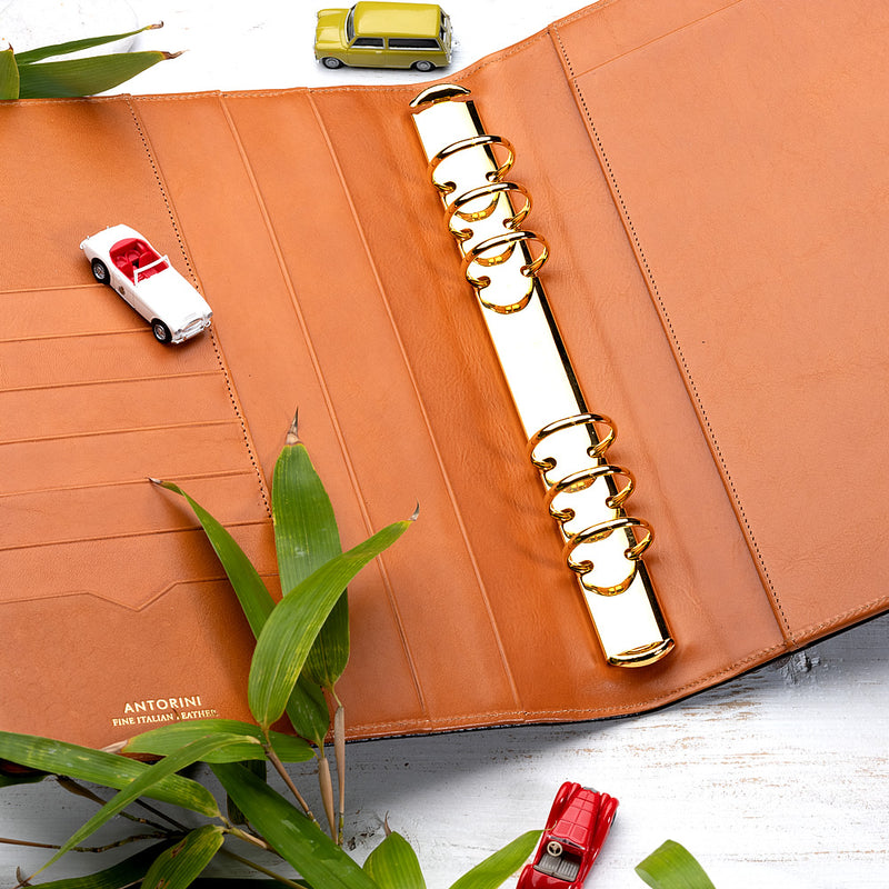 Leather Manager A5 Agenda in Black Croc and Cognac, 2020-ANTORINI®