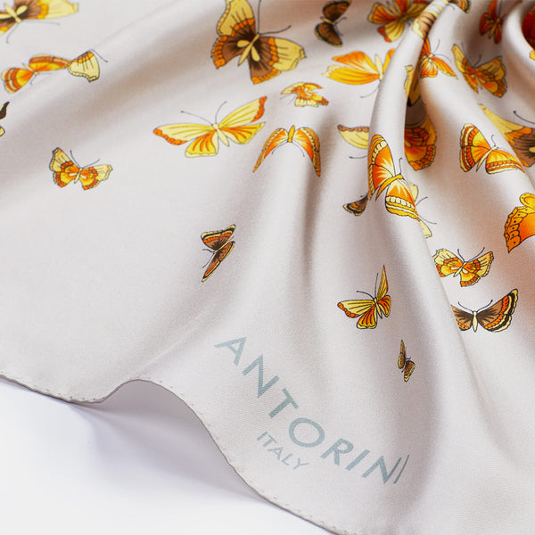 Luxury Butterflies Silk Scarf ANTORINI in Beige-ANTORINI®