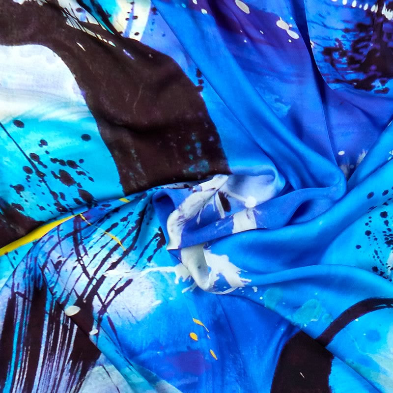 ANTORINI Blue Silk Scarf