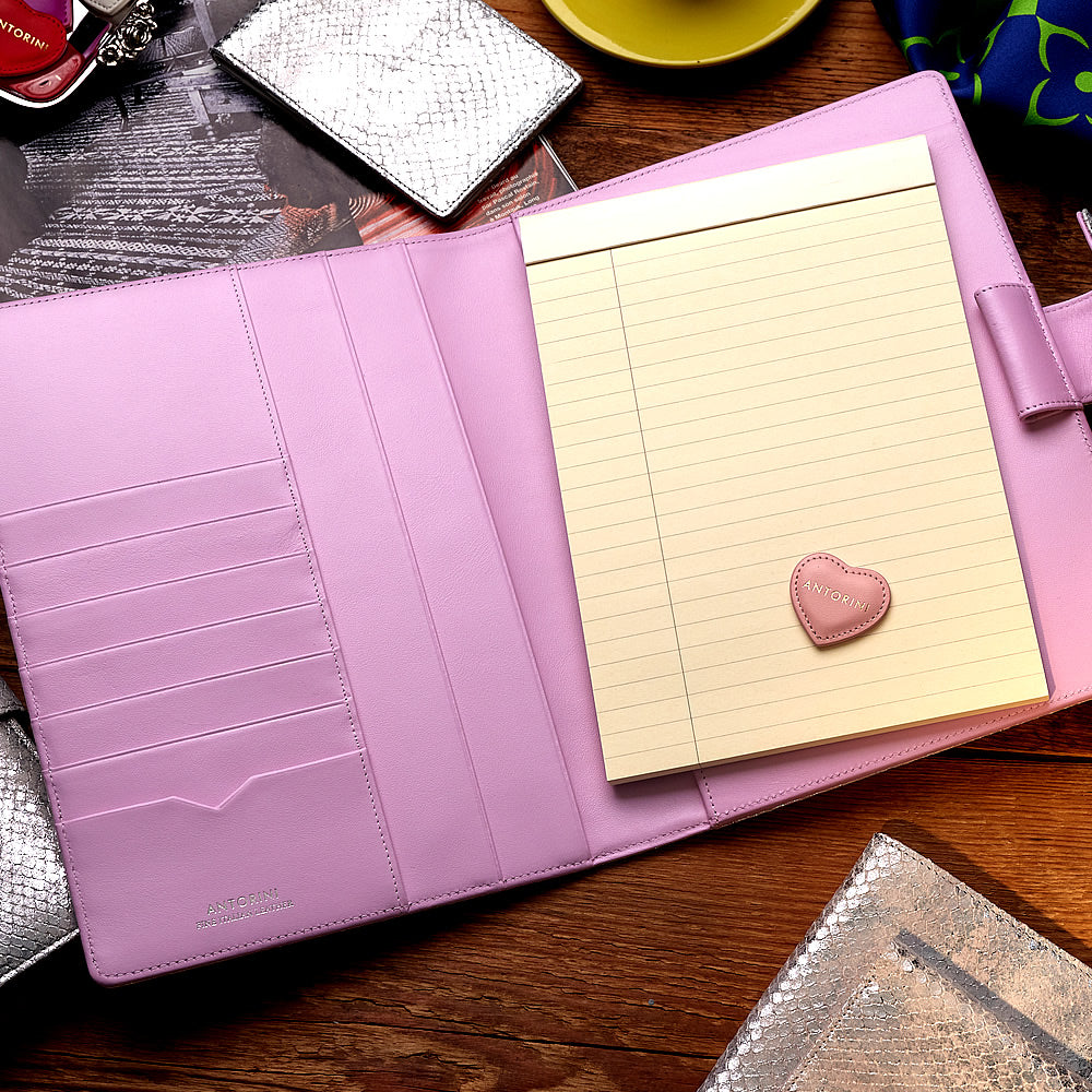 Multifunctional Leather A5 Journal/Diary and Note Pad in Silver & Lilac