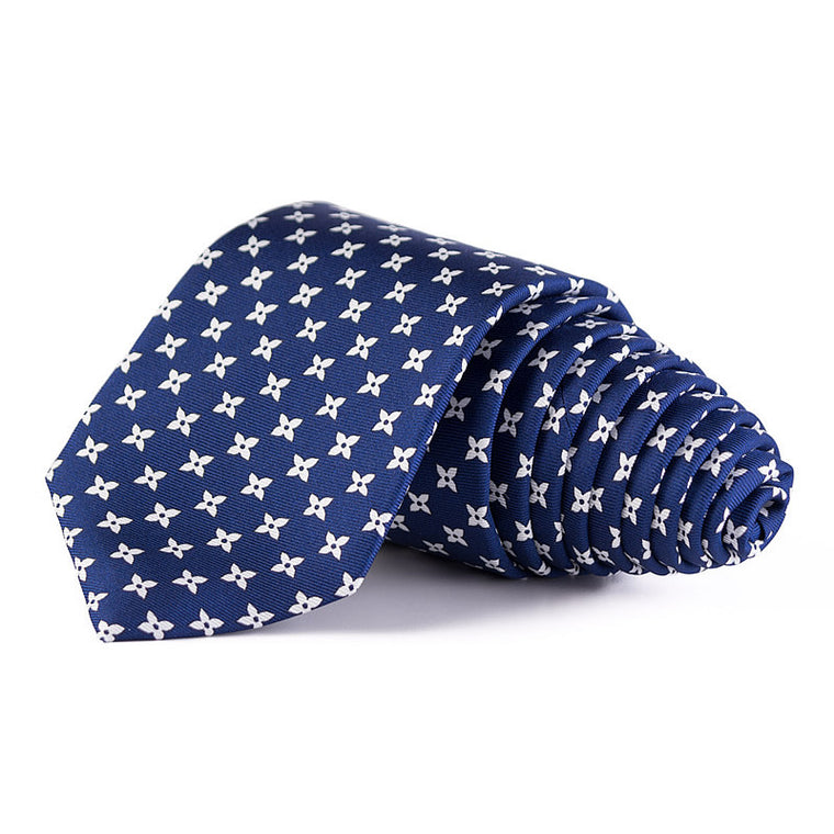 Bespoke Silk Tie in Royal Blue with Initials, Blossom Print