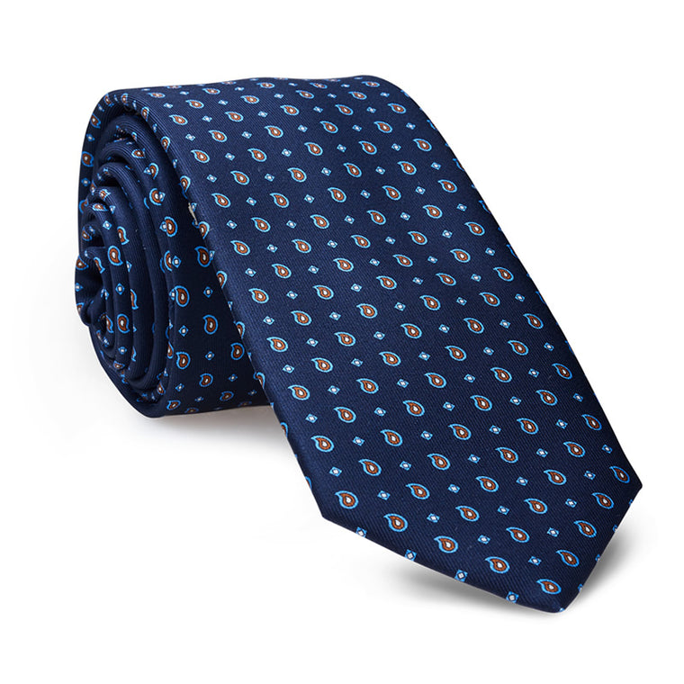 Italian Silk Tie in Blue with Ornaments