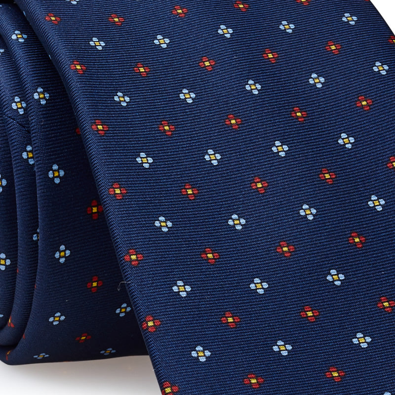 Luxury Silk Tie in Blue with White and Red Flowers