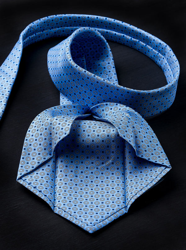 Bespoke Silk Tie in Blue with Initials
