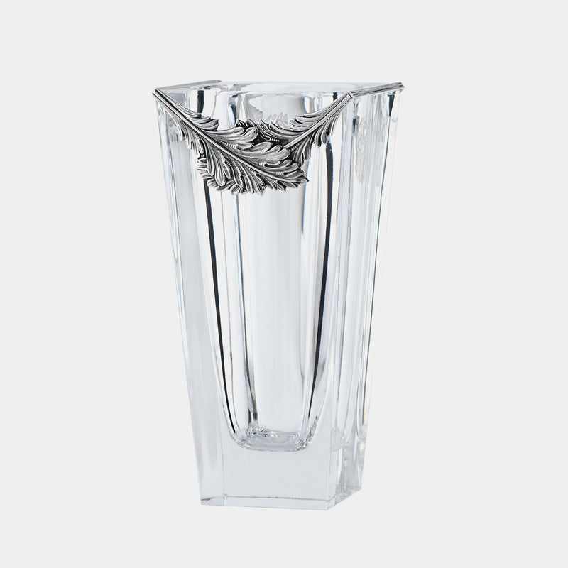 Crystal Vase Caesar, With Silver Plated Leafs-ANTORINI®