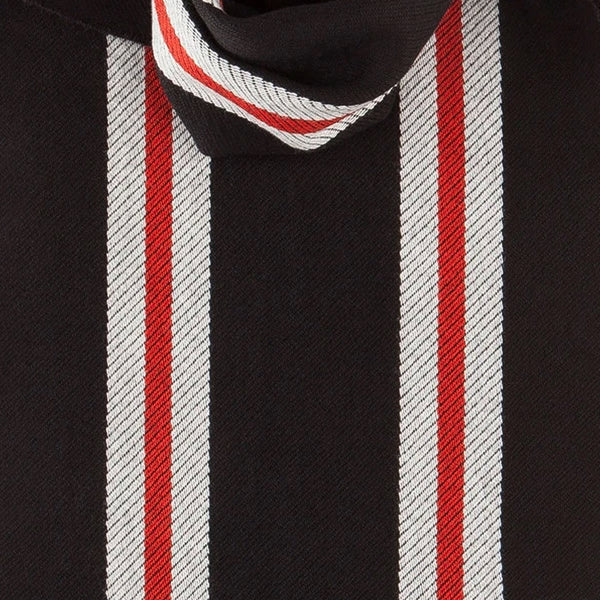Merino Wool Scarf with Red Stripes in Black-ANTORINI®