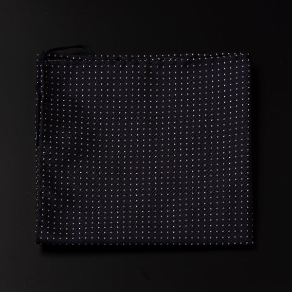 Jacquard Silk Pocket Square in Dark Navy With White Dots-ANTORINI®