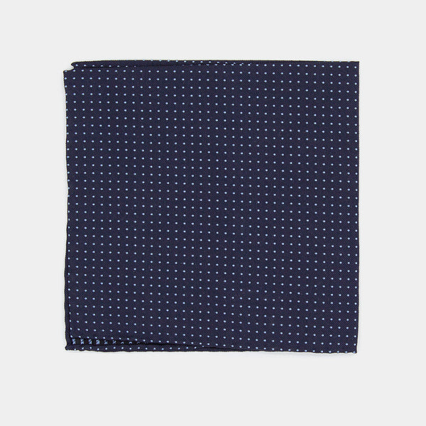 Silk Pocket Square, Blue with Dots-ANTORINI®