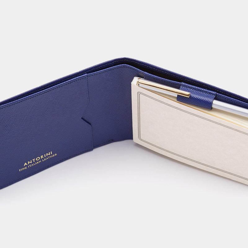 Pocket Memo Pad in Blue Saffiano-ANTORINI®