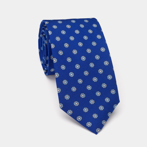 Silk Tie Kámasútra, in Blue with f\lowers-ANTORINI®