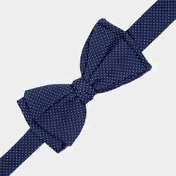 Silk Bow Tie in Blue with White Dots-ANTORINI®