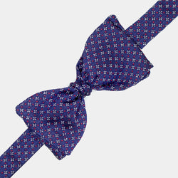 Silk Bow Tie in Blue with Crosses-ANTORINI®