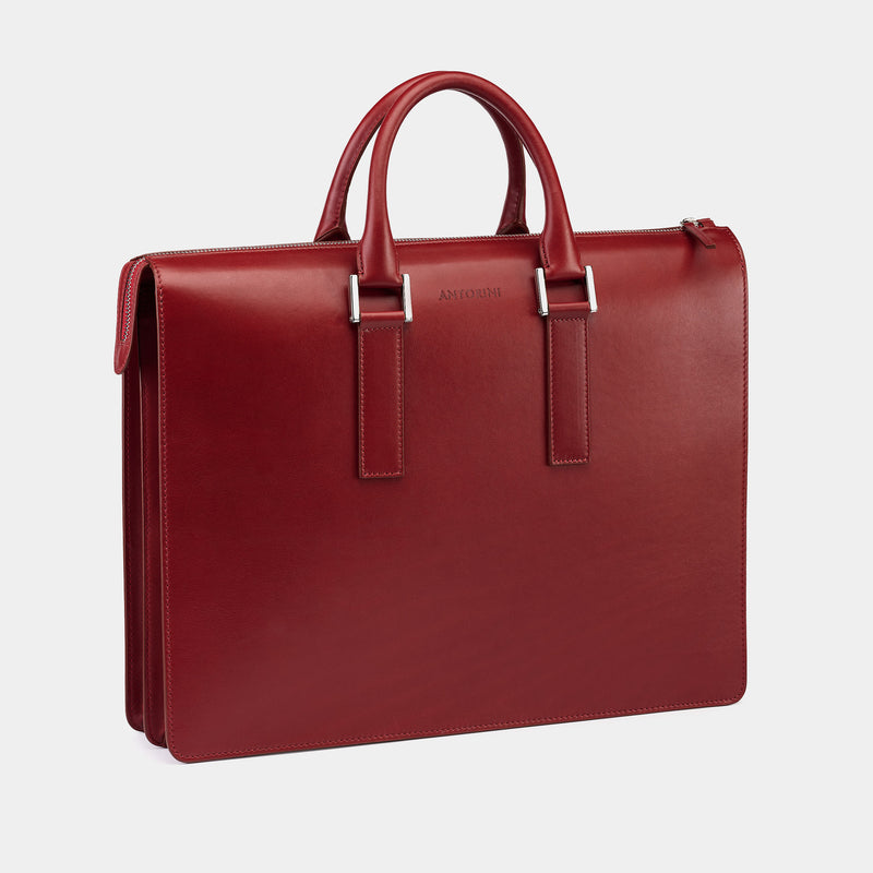 Leather Briefcase in Amaranth-ANTORINI®