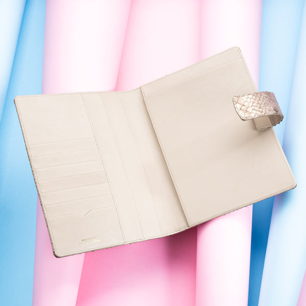Leather A5 Padfolio in Bronze and Beige with Notepad-ANTORINI®