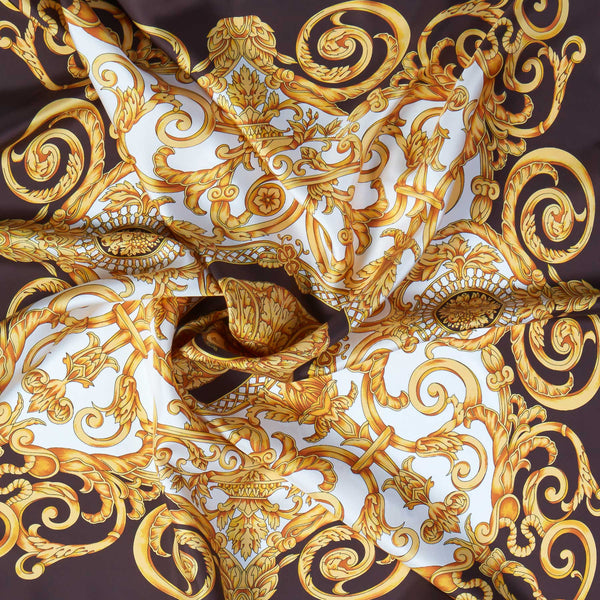 Vintage Silk Scarf in Brown-ANTORINI®