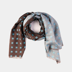 Wool Scarf in Brown with Flowers-ANTORINI®