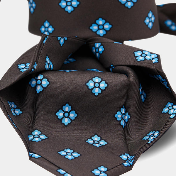 Italian Vintage Silk Tie in Brown with Blue Flowers-ANTORINI®