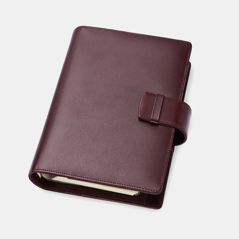 Leather Manager A6 Agenda in Burgundy