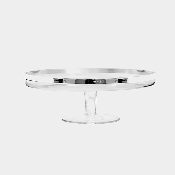 Glass Cake Stand with Silver-plated Decorations-ANTORINI®